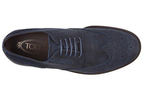Tod's Chaussures à Lacets Classiques Homme en Cuir Derby bucature Blu