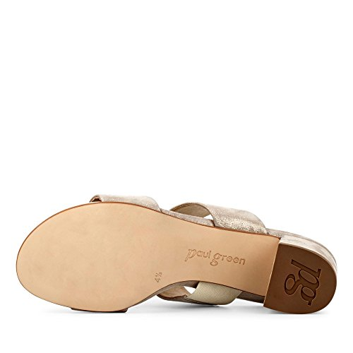 Pantolette Veloursleder in 6016 45 mm Damen Metallic Blockabsatz Taupe 102 Elegante XqwwCta