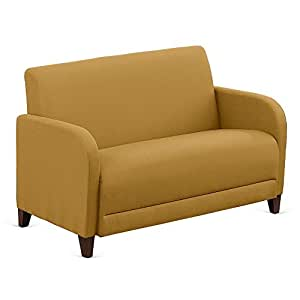 "Fabric Loveseat - 50""W Gold Fabric/Walnut Finish Dimensions: 50""W x 29.5""D x 32.5""H Seat Dimensions: 44.5""Wx20""Dx16""H Weight: 104 lbs"