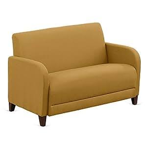 "Fabric Loveseat - 50""W Gold Fabric/Walnut Finish Dimensions: 50""W x 29.5""D x 32.5""H Seat Dimensions: 44.5""Wx20""Dx16""H Weight: 104 lbs"