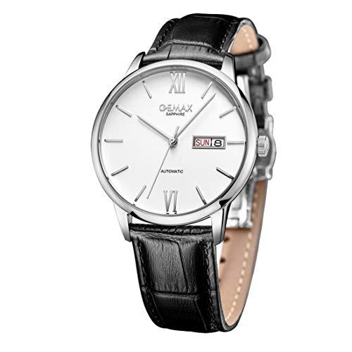 Parmaskin mekanisk klocka, man Women Fashion Watch, rostfritt stål klocka med läderband, 50 meter vattentät