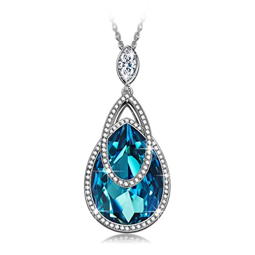 """J.NINA """"Alpine lakes"""" Water-drop Design Pendant Necklace, Made with Swarovski Crystals, Jewelry for Her J.NINA"""
