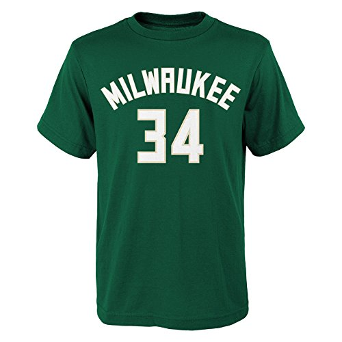 OuterStuff Giannis Antetokounmpo Milwaukee Bucks Youth Green Name and Number Player T-shirt Large 14-16