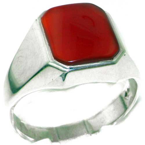 Gents Solid 925 Sterling Silver Natural Carnelian Mens Signet Ring - Size 11 - Sizes 6 to 13 Available