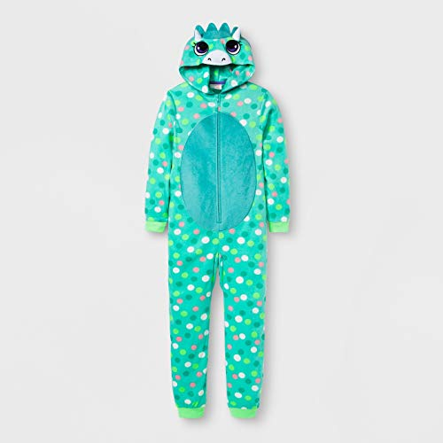 Spotted DINOSAUR Pajamas GIRLS Large 10-12 Hooded Fleece One Piece Union Suit Child L Costume