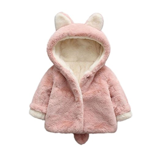 Alivego Baby Infant Girls Bunny Rabbit Ear Shape Fluffy Autumn Winter Hooded Coat Cloak Jacket Thick Warm Clothes (Pink, 6--12Months)