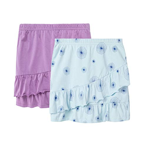 UNACOO 2 Packs 100/% Cotton Tiered Ruffle Skirt with Elastic Waistband for Girls