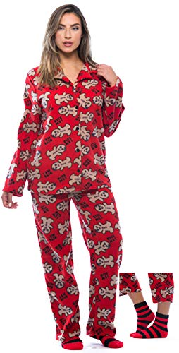 6370-10237-L #FollowMe Printed Microfleece Button Front PJ Pant Set with Socks, Red-Bite Me Gingergirl ()