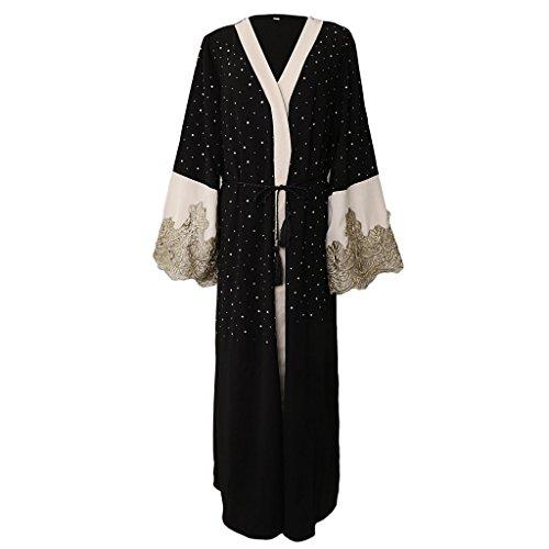 Prettyia Open Front Abaya Kaftan Jilbab Muslim Islamic Maxi Dress - Black, M by Prettyia