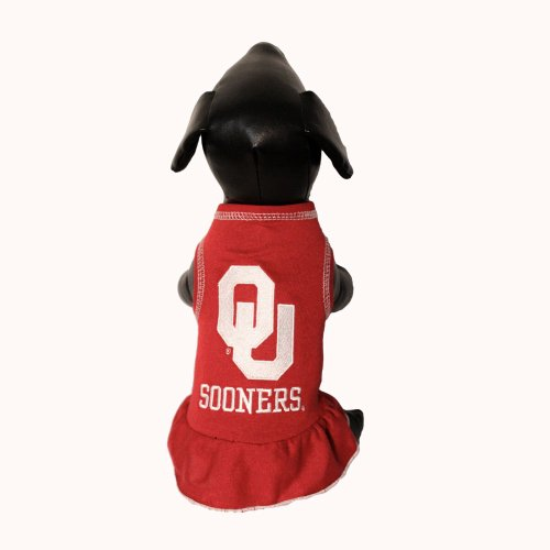 NCAA Oklahoma Sooners Cheerleader Dog Dress (Team Color, Large)