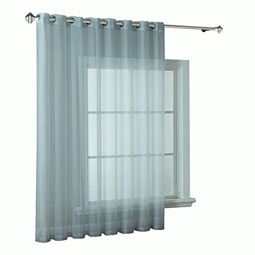 (Warm Home Designs 1 Extra-Wide Light Green Tone Silver Sheer Patio Curtain Panel 102 x 84 Inch Long with Grommets. Designed as Patio Door, Sliding Glass Door or Room Divider Drape - K Patio Silver 84
