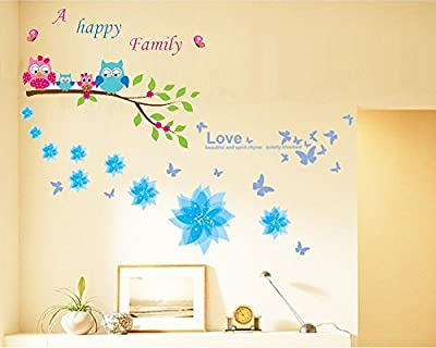 Dago© Owl and Flowers Happy Family Wall Stickers & Murals Wall Decals Wallpaper Wall Decorate and Removable Wall Décor Decorative Painting Supplies & Wall Treatments Luminous Stickers for Kids Living Room bedroom wallpops decal