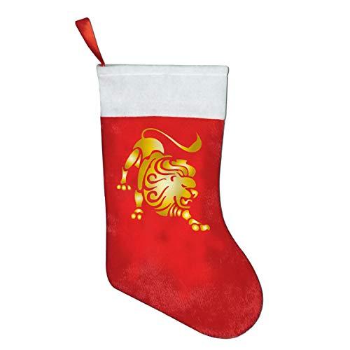 CYMO Gold Zodiac Leo Christmas Stockings Socks Gift Bag Decoration Home Decor 1 Pcs