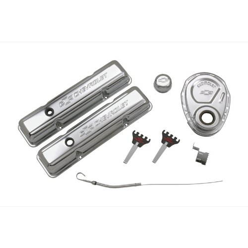 Proform 141-001 Chrome Engine Dress-Up Kit with Embossed Chevrolet/Bowtie Logo for Small Block Chevy (Engine Dress Up Kits)