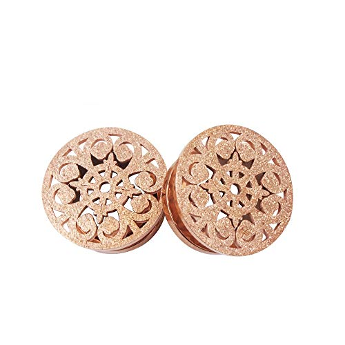 (Frosted Filigree Flower Ear Plugs Tunnels Expander Gauges Stretcher Earrings Hollow-Out Screw Stainless Steel Piercing Body Jewelry (Rose Gold 1/2