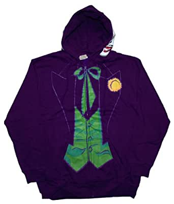 Mens DC Comics The Joker Costume Hoodie S Purple