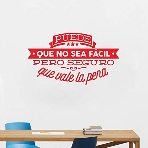 Zytree - Decorative Viny Wall Stickers Spanish Famous Quote Inspiring Phrase Wall Decals Sticker Home Decor for Living Room Decoration [Red-50cmx29cm]