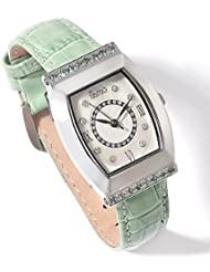 Silver Insanity Tiamo Womens Stainless Steel Green Leather Watch Bracelet with Genuine Diamond and Alexandrite