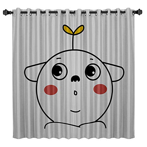 BMALL Blackout Curtains for Bedroom Room Darkening Thermal Insulated Curtains for Living Room Halloween Cartoon Monster Printed Energy Saving Drapes One Panel 52