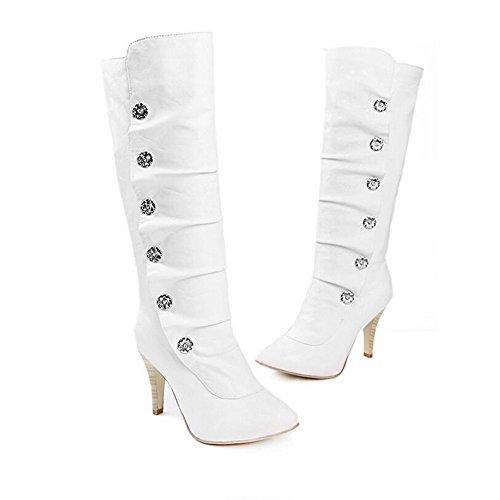 White Color de Alto TALÓN sólido de Mujeres cabeza botón Qxw redonda TALÓN Fina botas wqOPfpx1