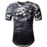 Hotkey Men's V-Neck T-Shirts Multipack Fashion Men's Summer Camouflage Graduated Short Sleeved Top Blouse