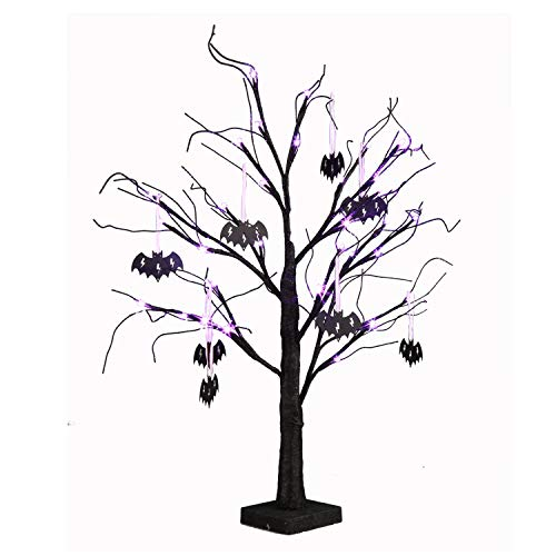 EAMBRITE 2FT Black Glitter Spooky Tree Lights with 24 LED Purple Lights and Black Bat Ornaments for Halloween Witch Decoration Battery Operated Indoor Use (Best Halloween Indoor Decorations)