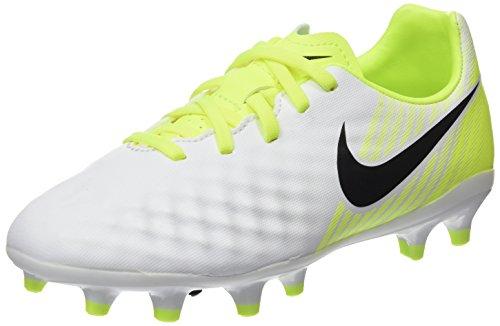 Nike Jr Magista Opus Ii Fg Soccer (bambino / Piccolo Grande Bambino) Bianco / Nero / Volt / Platino Puro