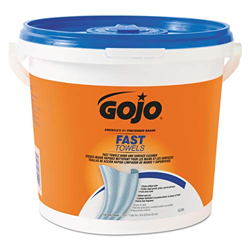 (GOJO Fast Towels, Fresh Citrus Scent, 130 Count Multi-Purpose, Heavy Duty Textured Wet Towels Canister - 6298-04)