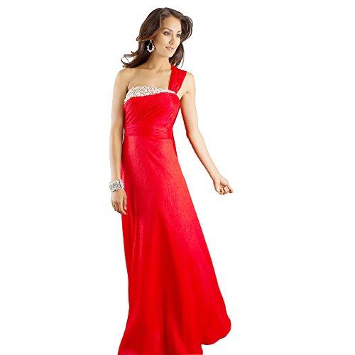 bodenlangen eine eine Rot Rot Schulter GEORGE Chiffon Abendkleid Linie BRIDE qRg1xg