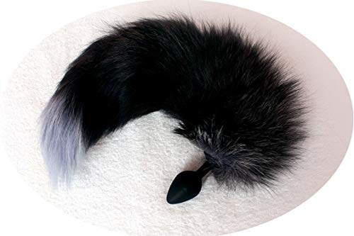 Length 40CM Head Bunny Rabbit T-ail Blockage Animal Pet T-ails Blockage Halloween Costume Accessory,Black Silicone