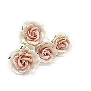 "1.5"" White Blush Pink Mulberry Paper Flowers, Mulberry Paper Roses, DIY Wedding, Flower Backdrop, Blush Wedding, DIY Flower Crown, Artificial Flowers, 12 Pieces 84"