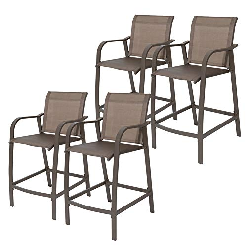 Crestlive Products Counter Height Bar Stools All Weather Patio Furniture with Heavy Duty Aluminum Frame in Antique Brown Finish for Outdoor Indoor, 4 PCS Set (Brown & Black)