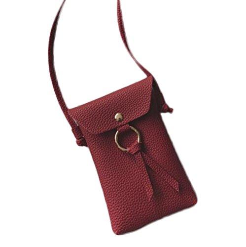 outflower para mujer bolso de mano bolsa de hombro bolsa de mensajero bolsa de moda Casual salvaje funda para teléfono Monedero Funda para teléfono accesorios bolsa de almacenamiento rojo rosso 11*17* rosso