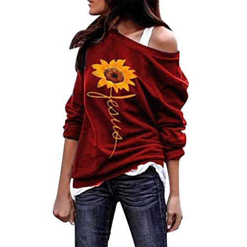 Dainzuy Women's Sexy Tops Off The Shoulder Boatneck Pullover Sweatshirt - Sunflower Print Comfy Baggy - Print Top Boatneck