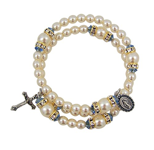 Religious Fashion Jewelry White and Blue Prayer Bead Spiral Rosary Bracelet with Miraculous Medal Charm, One Size ()