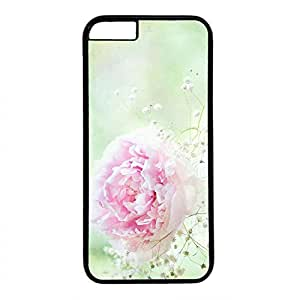 Hard Back Cover Case for iphone 6 Plus,Cool Fashion Black PC Shell Skin for iphone 6 Plus with Pink Flower