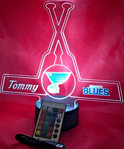 (Beautiful Handmade St. Louis Acrylic Personalized Blues Hockey Sticks Light Up Light Lamp LED Table Lamp Our Newest Feature - It's WOW, With Remote, 16 Color Option, Dimmer, Free Engraving, Great Gift)