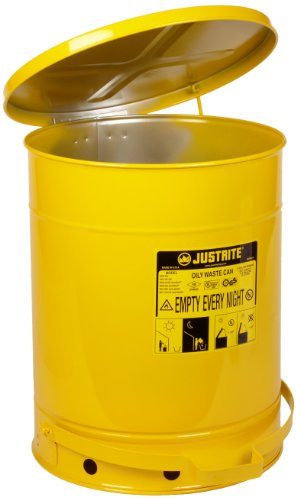 Justrite 09501 14 Gallon, Galvanized-Steel Yellow Safety Cans For Oily Waste -