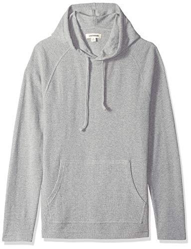 Goodthreads Men's Long-Sleeve Slub Thermal Pullover Hoodie, Heather Grey, Medium