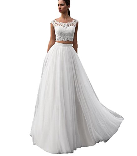 Elleybuy Women's Two Pieces A Line Beach Wedding Dresses 2017 Bohemian Wedding Gown