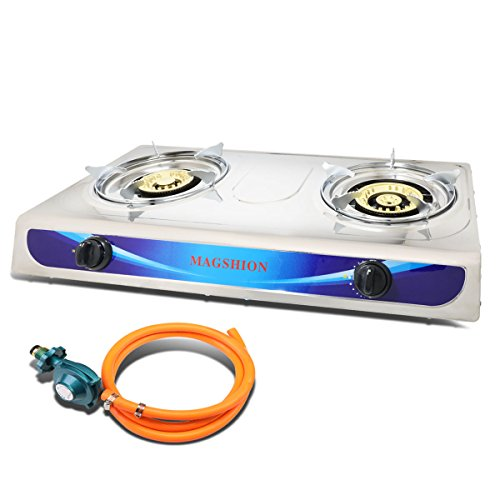 Magshion Double Portable Propane Gas Stove Large Brass Burner With Hose & Regulator