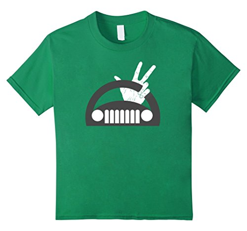 Kids Funny The Jeep Wave T-Shirt 8 Kelly Green