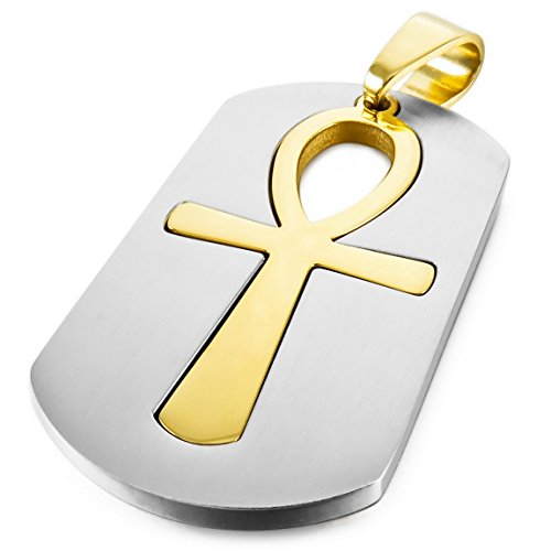 INBLUE Men,Women's Stainless Steel Pendant Necklace Silver Gold Two Tone Egyptian Ankh Cross -With 23 Inch Chain