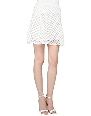 Theory Rortie B. Open-Stitch Skirt, Memorize Fabric, White