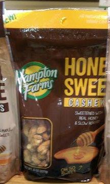 Hampton farms honey sweet cashews 8oz