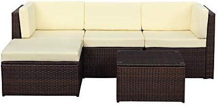 IKAYAA H0064 - Conjunto de Muebles de Jardín Salón Patio Terraza Aire Libre (2 Sofá Esquina+1 Medio Sofá+1 Tabla+1 Otomana),Color Beige: Amazon.es: Hogar