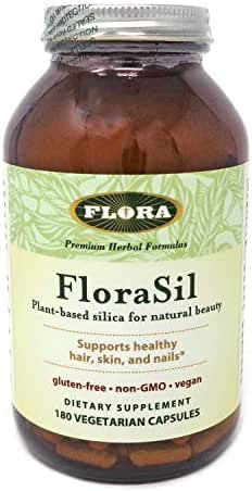 FloraSil for Hair, Skin, and Nails, 180 Capsules  - Supports Vegan Collagen, Keratin, & Elastin Production - for Hair Growth, Skin Care, Nail & Bone Strength
