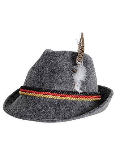 German Alpine Hat for Adults, Gray, One Size - Oktoberfest Costumes Mens