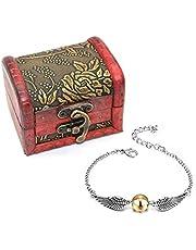 4 UNIDS Harry Potter Inspired Necklace Set Gold Snitch Bracelet con Caja de Regalo para la colección o Decoraciones de los fanáticos de Harry Potter
