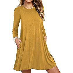 Women's Pockets Casual Swing T-shirt Dresses Yellow Small